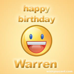 happy birthday Warren smile card
