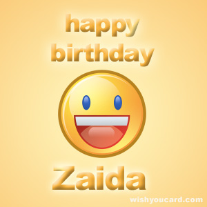 happy birthday Zaida smile card