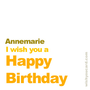 happy birthday Annemarie simple card