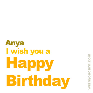 happy birthday Anya simple card