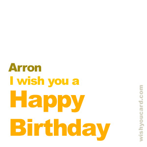 happy birthday Arron simple card