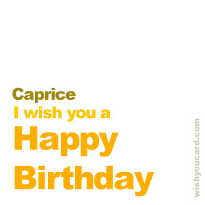 happy birthday Caprice simple card