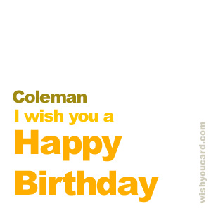 happy birthday Coleman simple card