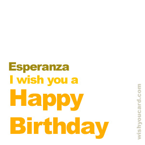 happy birthday Esperanza simple card