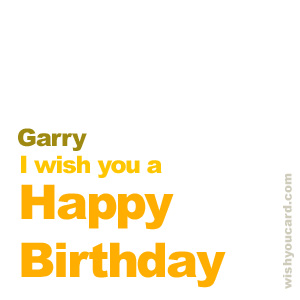 happy birthday Garry simple card