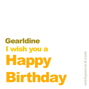 happy birthday Gearldine simple card