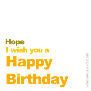 happy birthday Hope simple card