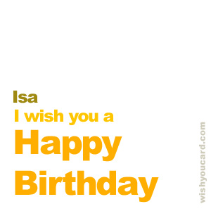 happy birthday Isa simple card