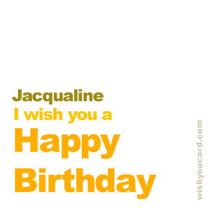happy birthday Jacqualine simple card