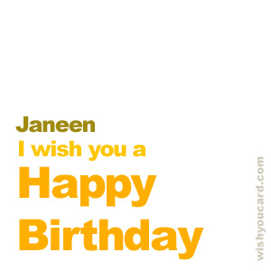 happy birthday Janeen simple card