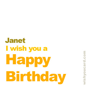 happy birthday Janet simple card