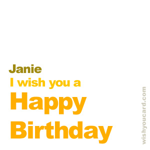 happy birthday Janie simple card
