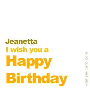happy birthday Jeanetta simple card