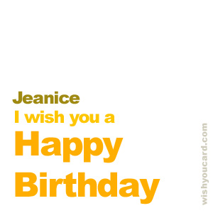 happy birthday Jeanice simple card