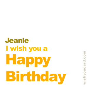 happy birthday Jeanie simple card