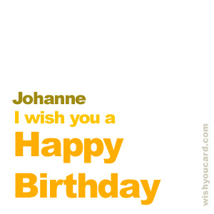 happy birthday Johanne simple card