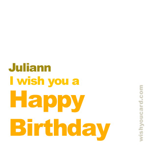 happy birthday Juliann simple card