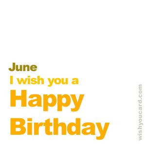 Happy Birthday June Simple Card