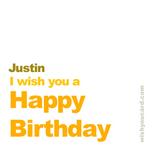 happy birthday Justin simple card