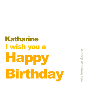 happy birthday Katharine simple card