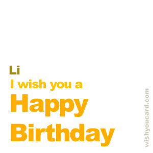 happy birthday Li simple card