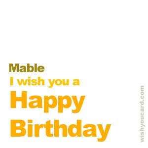 happy birthday Mable simple card