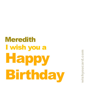 happy birthday Meredith simple card