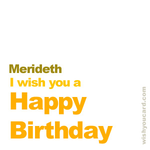 happy birthday Merideth simple card