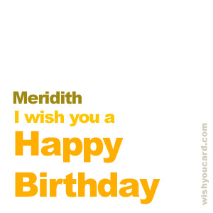 happy birthday Meridith simple card