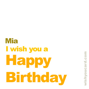happy birthday Mia simple card