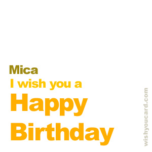 happy birthday Mica simple card