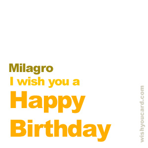 happy birthday Milagro simple card