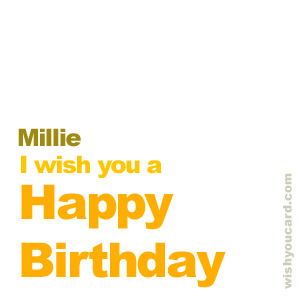 happy birthday Millie simple card