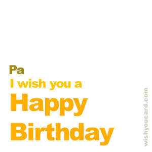happy birthday Pa simple card