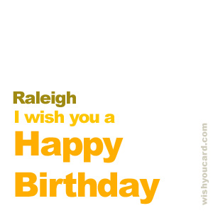 happy birthday Raleigh simple card