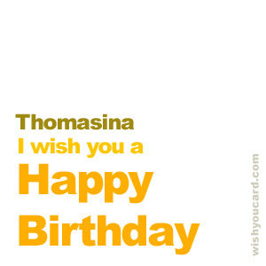 happy birthday Thomasina simple card