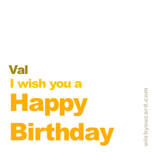happy birthday Val simple card
