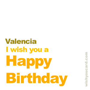 happy birthday Valencia simple card
