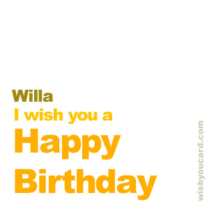 happy birthday Willa simple card