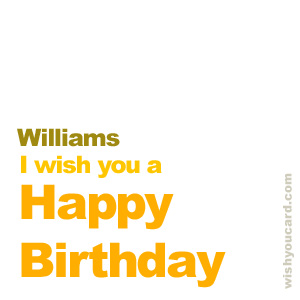 happy birthday Williams simple card