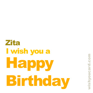 happy birthday Zita simple card